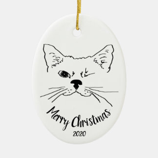 Watercolor Dated Winking Cat fun Merry Christmas Christmas Ornament