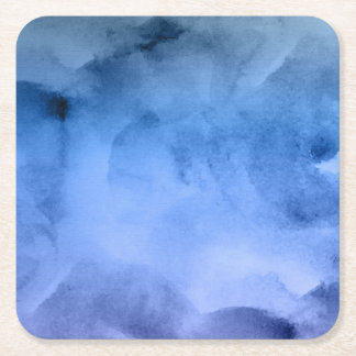 Watercolor Deep Blues - All Options Square Paper Coaster