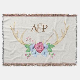 Watercolor Deer Antlers Flowers + Couple Monogram Throw Blanket