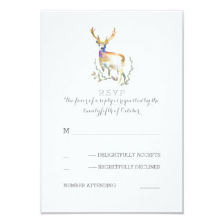Watercolor Deer Antlers Wedding RSVP Cards