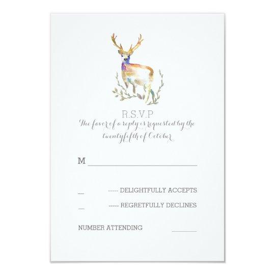 Watercolor Deer Antlers Wedding RSVP Cards