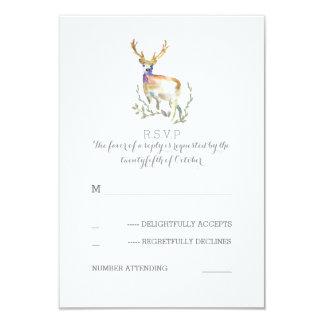 Watercolor Deer Antlers Wedding RSVP Cards 9 Cm X 13 Cm Invitation Card