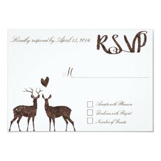 Watercolor deers RSVP Card 9 Cm X 13 Cm Invitation Card