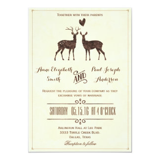 Watercolor Deers wedding invitation