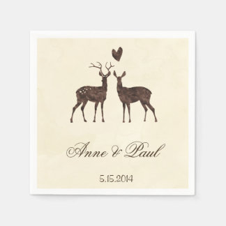 Watercolor deers Wedding Napkin Paper Napkins