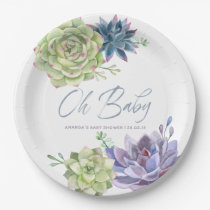 Watercolor Desert Cactus Succulents Baby Shower Paper Plate