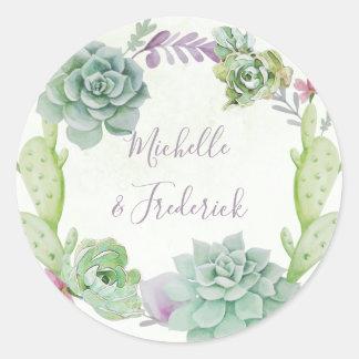 Watercolor Desert Cactus Succulents Wedding Classic Round Sticker