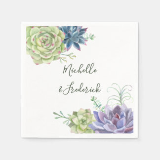 Watercolor Desert Cactus Succulents Wedding Disposable Napkin