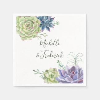 Watercolor Desert Cactus Succulents Wedding Paper Napkins
