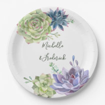 Watercolor Desert Cactus Succulents Wedding Paper Plate