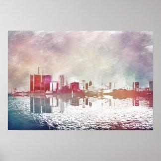 Watercolor Detroit Poster
