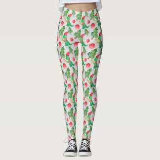 Watercolor Dinosaur with a Christmas Tree Leggings