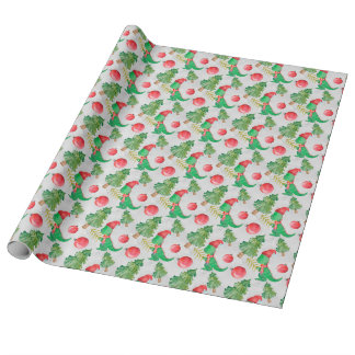 Watercolor Dinosaur with a Christmas Tree Wrapping Paper
