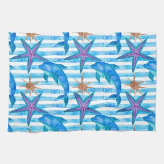 Watercolor Dolphin Pattern Tea Towel