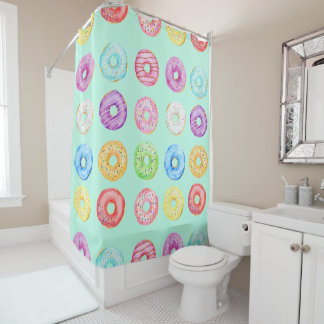 Watercolor Donuts Shower Curtain