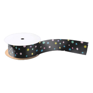 Watercolor dots om black satin ribbon