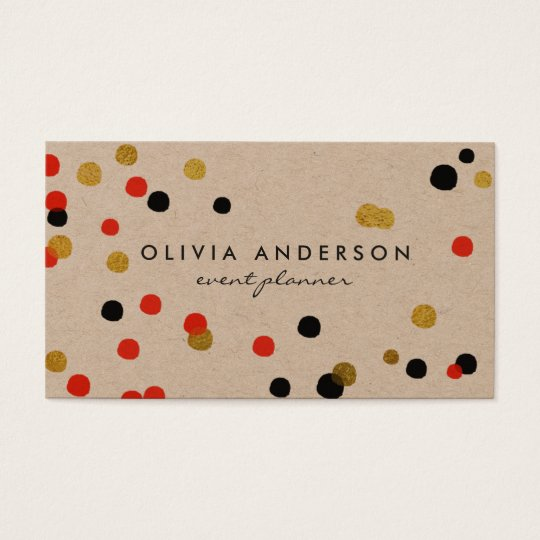 Watercolor dots Red black gold business cards