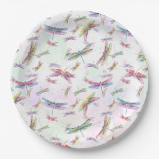 Watercolor Dragonflies Paper Plate