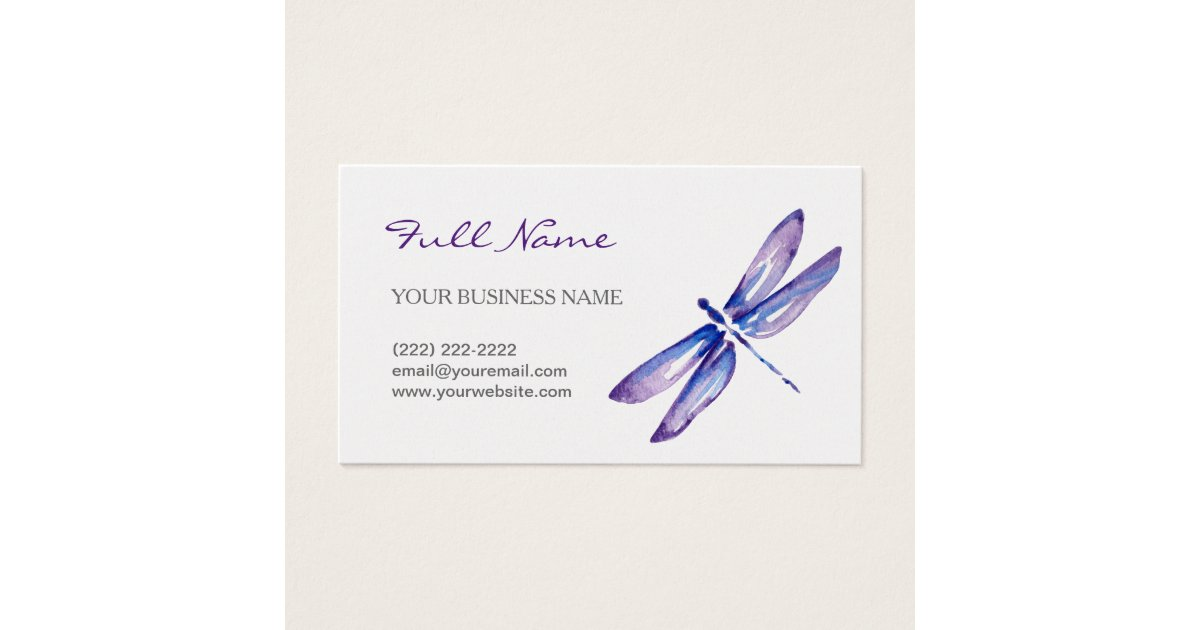 Watercolor Dragonfly Business Cards | Purple | Zazzle.co.uk