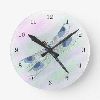 Watercolor Dragonfly Clock