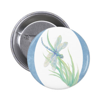 Watercolor Dragonfly in Blue & Green Nature Art 6 Cm Round Badge