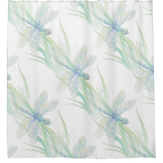 Watercolor Dragonfly in Soft Blues & Green art Shower Curtain
