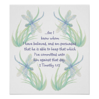 Watercolor Dragonfly Scripture Timothy Encourage Poster
