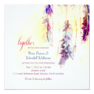 Watercolor Dreamcatcher Feathers Wedding 13 Cm X 13 Cm Square Invitation Card