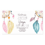 Watercolor dreamcatcher feathers yoga instructor pack of standard business cards
