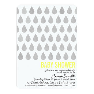 Watercolor Droplets Baby Shower Invitation