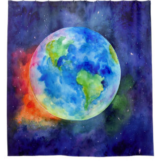 Watercolor Earth Shower Curtain