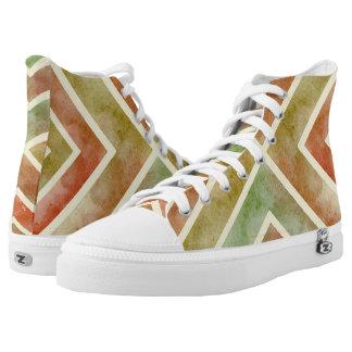 Watercolor earthy colors geometric chevron stripes printed shoes