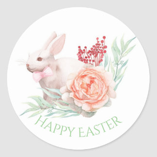 Watercolor Easter Bunny Classic Round Sticker