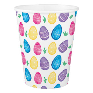 Watercolor Easter Egg Hunt Pattern Paper Cup