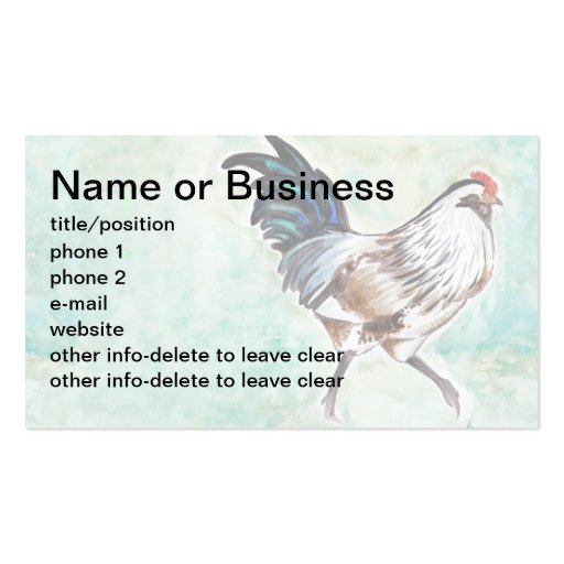 Watercolor Easter Egger Rooster Business Cards