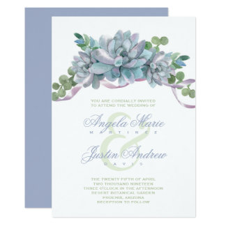 Watercolor Echeveria with Purple Ribbon Card