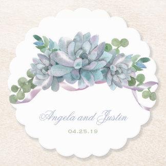 Watercolor Echeveria with Purple Ribbon Paper Coaster