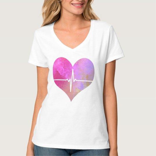 Watercolor EKG Heart T-Shirt