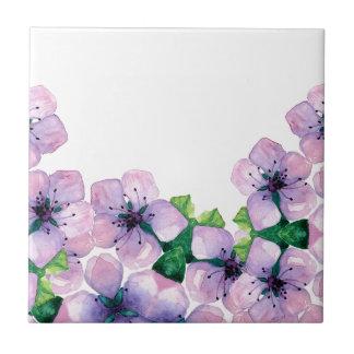Watercolor elegant card with japanese sakura small square tile