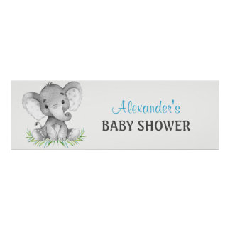 Watercolor Elephant Boy Baby Shower Banner Poster