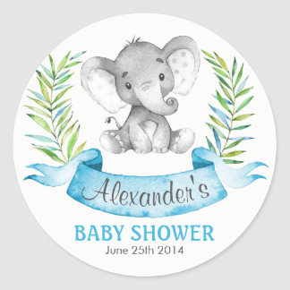Watercolor Elephant Boy Baby Shower Classic Round Sticker