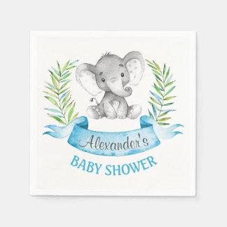 Watercolor Elephant Boy Baby Shower Disposable Serviette