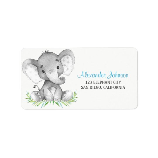 Watercolor Elephant Boy Label