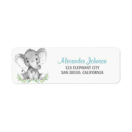 Watercolor Elephant Boy Return Address Label