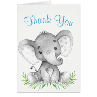 Watercolor Elephant Boy Thank You Card