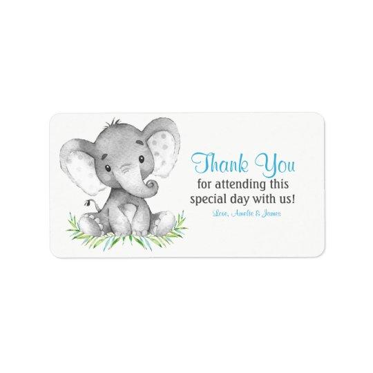 Watercolor Elephant Boy Thank You Label