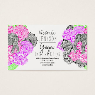 Watercolor elephant floral mandala yoga instructor business card