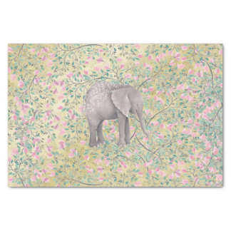 Watercolor Elephant Flowers Gold Glitter Tissue Paper