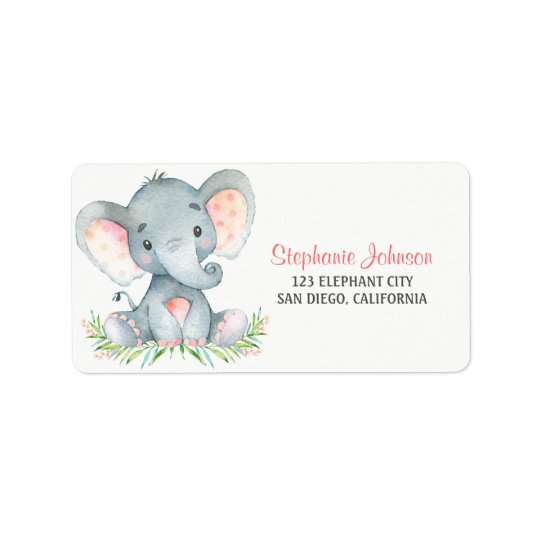 Watercolor Elephant Girl Label