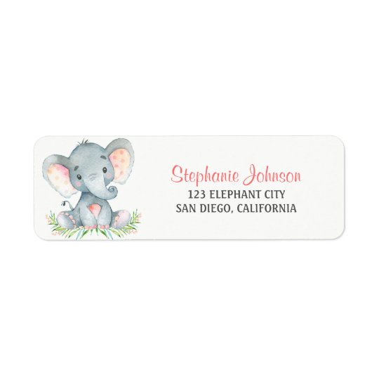 Watercolor Elephant Girl Return Address Label